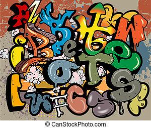 vettore, graffito, elementi