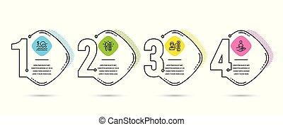 vettore, grafico, affari, reclutamento, segno., icons., arte, investimento, relazione, answer., creatività, opinione, assegno, scegliere