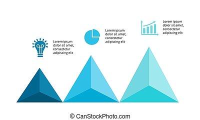 vettore, grafico, concetto, triangolo, processes., affari, infographic, grafico, opzioni, frecce, su, diagramma, parti, 3, presentation., timeline, passi