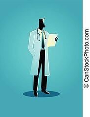 vettore, grafico, illustrazione, dottore