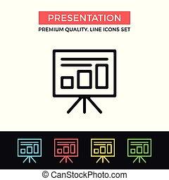 vettore, grafico, premio, contorno, icone, semplice, qualità, moderno, presentazione, simboli, collezione, set, magro, board., icon., segni, linea, design.