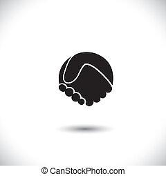 vettore, grafico, silhouette, astratto, -, mano, concetto, scuotere, icona