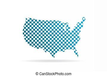 vettore, grafico, stati uniti, map., stati, unito, disegno, chequered
