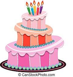 vettore, grande, torta compleanno, con, urente, candele