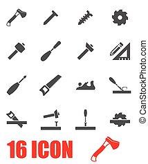 vettore, grigio, carpenteria, icona, set