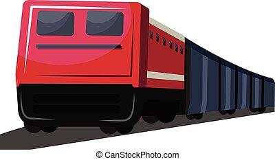 vettore, grigio, profondo, fondo., treno, illustrazione, fronte, bianco, vista, trasporto, rosso