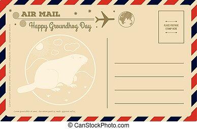 vettore, groundhog, postcard., vendemmia, giorno, illustration.
