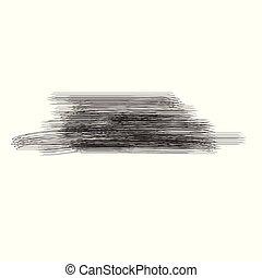 vettore, grunge, dipinto, isolato, mano, verniciare spruzzata, nero, spazzola, fondo, bianco