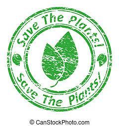"""vettore, grunge, francobollo, testo, dentro, illustrazione, stamp., gomma, scritto, plants!"""", """"save"""
