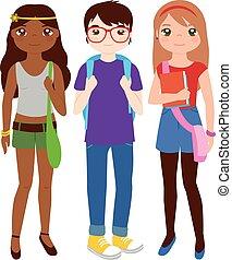 vettore, gruppo, adolescente, illustrazione, students.