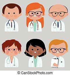vettore, gruppo, doctors., illustrazione