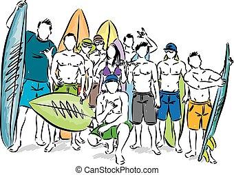 vettore, gruppo, illustrazione, surfers