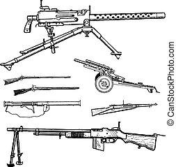 vettore, guerra, pistole