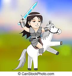 vettore, guerriero, cavallo, donna