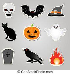 vettore, halloween, elementi