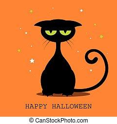 vettore, halloween, gatto