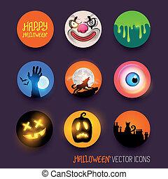 vettore, halloween, icone