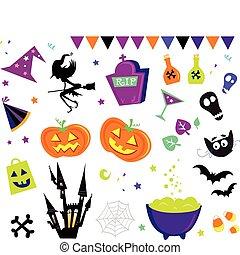 vettore, halloween, set, iii, icone