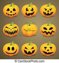vettore, halloween, zucche