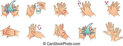 vettore, hands., pulizia, tuo, mani lavano, illustrazione, ...