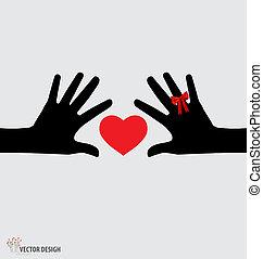 vettore, heart., illustration., tenere mani