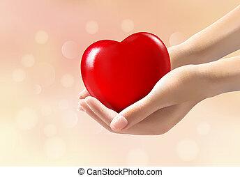 vettore, heart., rosso, tenere mani