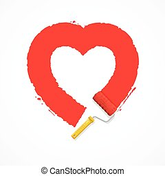 vettore, heart., rosso, valentina