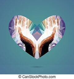 vettore, heart., tenere mani