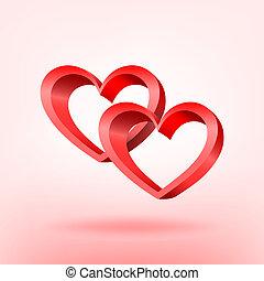 vettore, hearts., illustration., rosso, 3d