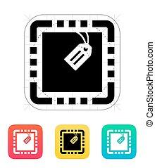 vettore, icon., etichetta, illustration., cpu