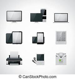 vettore, icona computer, set