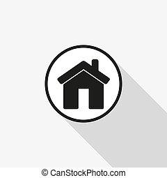 vettore, icona, di, casa