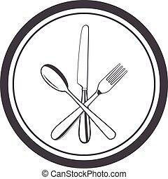 vettore, icona, di, piastra, con, forchetta, coltello, e, cucchiaio