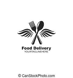 vettore, icona, logotipo, ali, forchetta, cucchiaio, illustrazione