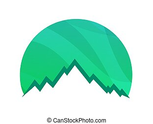 vettore, icona, montagne, isolato, logotipo, fondo, bianco, alpino, illustrazione, summit., roccia, -, verde, rotondo