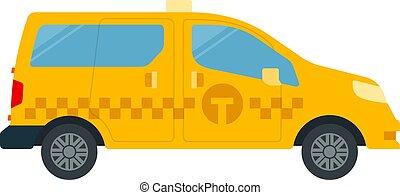 vettore, icona, passenger-and-freight, appartamento, isolato, tassì