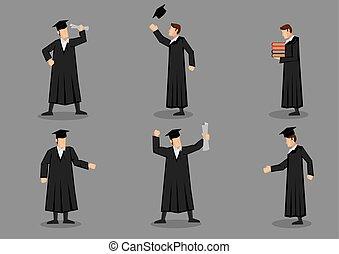 vettore, icona, set, graduazione, laureato