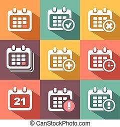 vettore, icone, calendario