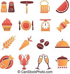 vettore, icone, colorare, collezione, cibo, 2