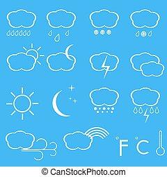 vettore, icone, di, weather.