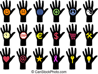 vettore, icone, mani