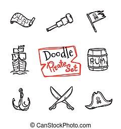 vettore, icone, scarabocchiare, set., marinaio, collezione, mano, oggetti, disegnato, pirata