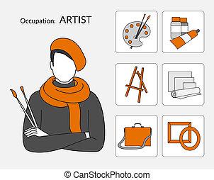 vettore, icone, set, artista
