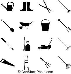 vettore, icone, set, giardinaggio, illustrazione