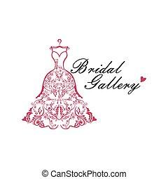 vettore, idee, vestito nozze, logotipo, illustrazione,...