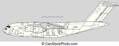 vettore, iii., disegno, c-17, boeing, contorno, globemaster