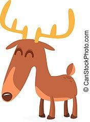 vettore, illustration., cervo, carattere, cartone animato, isolato
