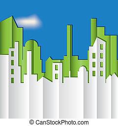 vettore, illustration., cityscape.