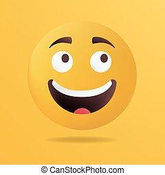 vettore, illustration., felice, emoticon, faccia