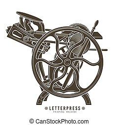 vettore, illustration., letterpress, vendemmia, macchina, stampa, stampa, logotipo, design.